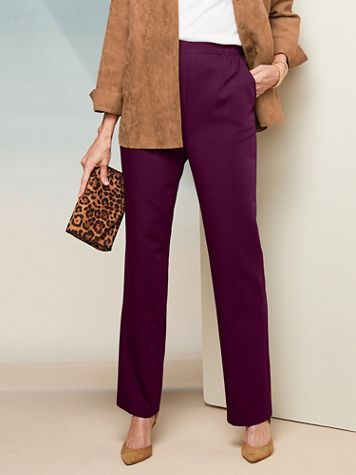 Washable Wool Straight Leg Pull-On Pants - Image 1 of 16