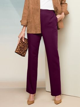 Washable Wool Straight Leg Pull-On Pants