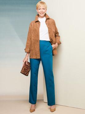 Microsuede Shirt Jacket & Washable Wool Pants