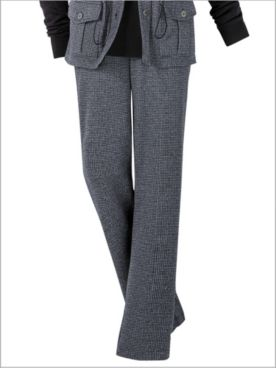 Check Knit Straight Leg Pull-On Pants