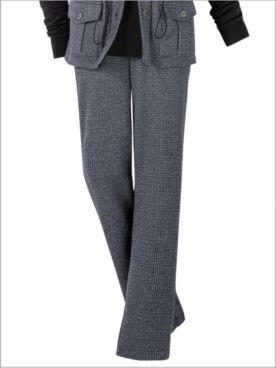 Check Knit Straight Leg Pull-On Pants