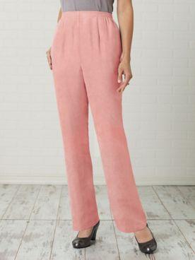 Microsuede Straight Leg Pull-On Waist Pants
