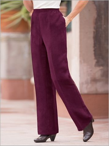 Microsuede Straight Leg Pull-On Waist Pants - Image 0 of 4