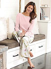 Women's Brushed-Back Satin and Fleece Pajamas