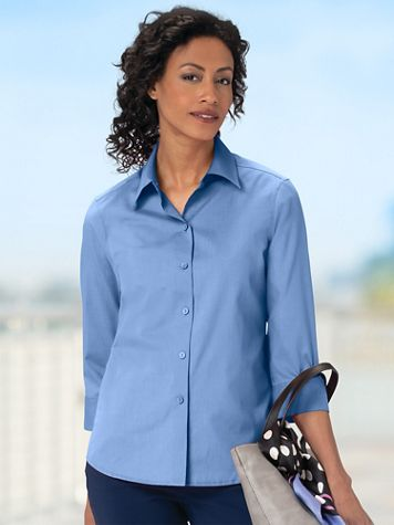 Women's Wrinkle-Free Foxcroft 3/4-Sleeved Shirt - Image 1 of 21