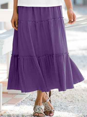 Crinkled Tiered Pull-On Skirt