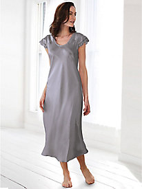 Washable Silk Charmeuse Calf-Length Gown