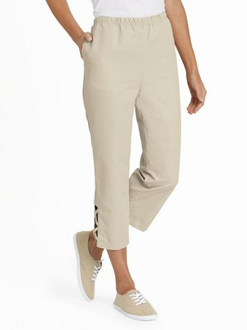 Criss-Cross Pull-On Capris - Image 1 of 8