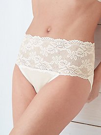 Mid-Rise Washable Silk Brief with Lace Waist