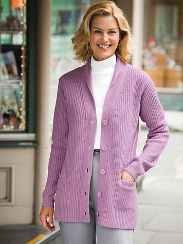 Shaker-Knit Cardigan Sweater - Image 1 of 6