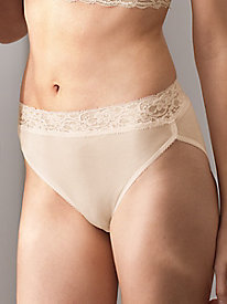 High-Cut Washable Silk Brief with Lace Trim