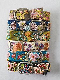 Embroidered Wildflower Belt
