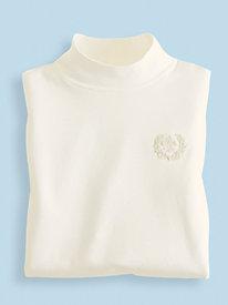 Embroidered Crest Mock Turtleneck
