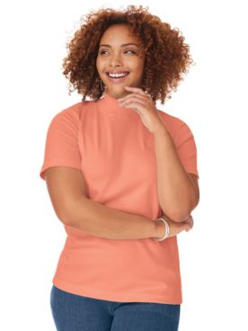 Short-Sleeve Mockneck Top