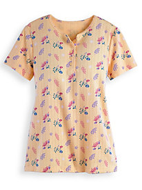 Short Sleeve Pointelle Top by Blair