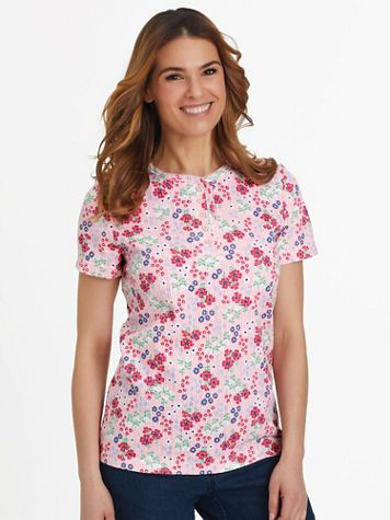 Short-Sleeve Pointelle Henley Top - Image 1 of 22