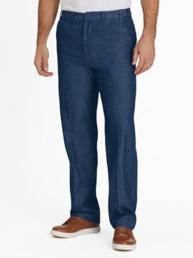 Adjust-A-Band Relaxed-Fit Twill and Denim Pants