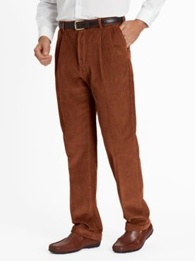 Wide-Wale Pleated and Cuffed Corduroy Pants