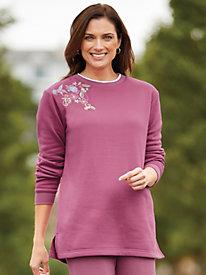 Better-Than-Basic Embroidered Tunic Sweatshirt