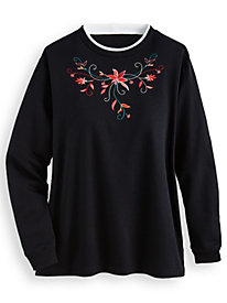 Better-Than-Basic Embroidered Tunic Sweatshirt by Blair