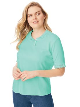 Cutwork-Trimmed Polo Top