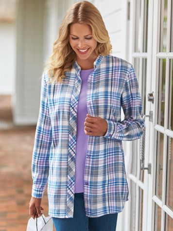 Plaid Flannel Tunic - Image 1 of 2