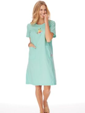 Short-Sleeve Knee-Length Skimmer Dress