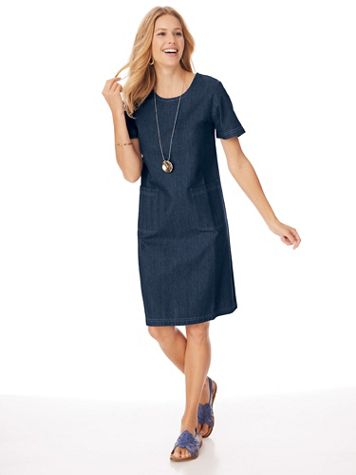 Short-Sleeve Knee-Length Skimmer Dress