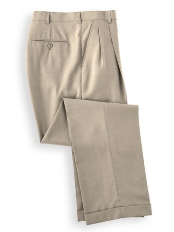 Personal Choice® Poly/Wool Blend Suit Pants - Pleated Front