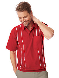 1930s Style Mens Shirts John Blair Piped Polo $25.99 AT vintagedancer.com