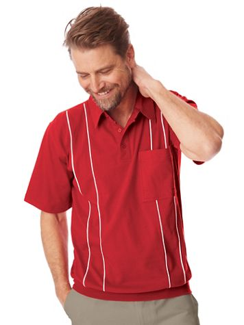 John Blair® Jersey Knit Banded-Bottom Polo Shirt - Image 1 of 6
