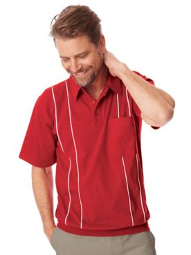 John Blair® Jersey Knit Banded-Bottom Polo Shirt