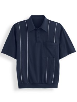1950s Men's Shirt Styles – Dress Shirts to Casual Pullovers John Blair® Piped Polo $17.99 AT vintagedancer.com