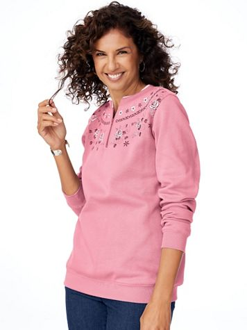 Floral-Print Fleece Sweatshirt - Image 1 of 6