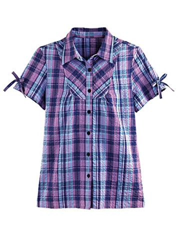 Plaid Seersucker Camp Shirt - Image 1 of 4
