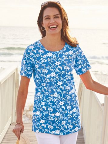 Short-Sleeve Print Knit Tunic