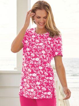 Short-Sleeve Print Knit Tunic