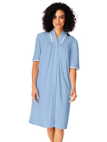 Knee-Length Snap-Front Terry Robe - Image 1 of 5