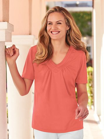 Short-Sleeve Criss-Cross Top - Image 1 of 10