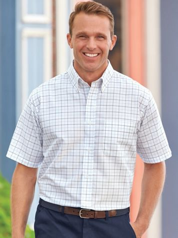 Wrinkle-Resistant Short-Sleeve Oxford Shirt - Image 1 of 6
