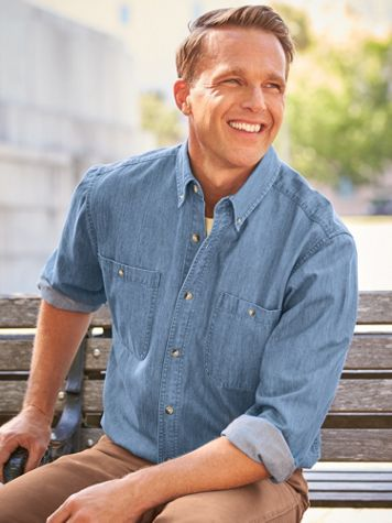 Scandia Woods Long-Sleeve Denim and Twill Shirts - Image 1 of 7