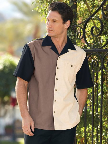 1950s Men's Shirt Styles – Dress Shirts to Casual Pullovers John Blair Colorblock Camp Shirt $26.99 AT vintagedancer.com