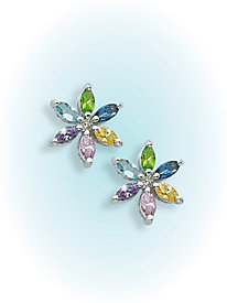 Multicolor CZ Flower Earrings