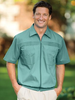 1940s Men's Fashion Clothing Styles John Blair® Full-Zip Shirt $26.99 AT vintagedancer.com