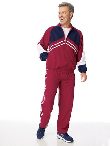 Irvine Park® Stripe Microfiber Jog Suit - Image 1 of 3