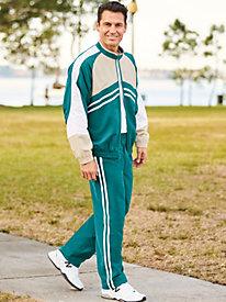 Irvine Park® Stripe Microfiber Jog Suit by Blair
