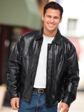 John Blair® Pieced Leather Bomber Jacket