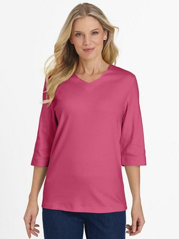 Essential Knit Elbow-Length Scalloped Top - Image 1 of 9