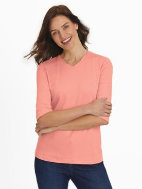 Essential Knit Elbow-Length Scalloped Top