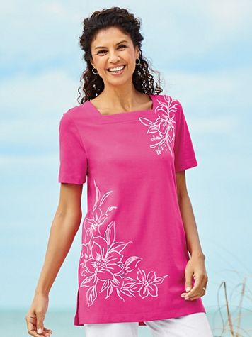 Short-Sleeve Square-Neck Tunic Top - Image 2 of 4